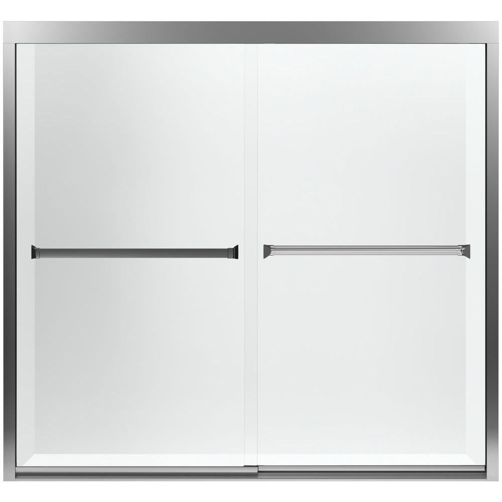 sterling meritor in x in sliding tub door in silver with clear glass the home depot