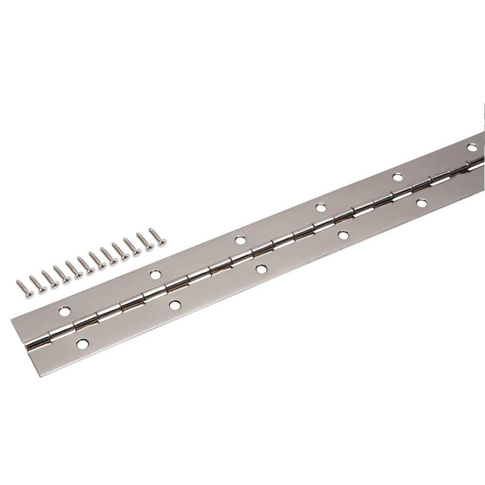 Everbilt 1-1/2 in. x 48 in. Bright Nickel Continuous Hinge