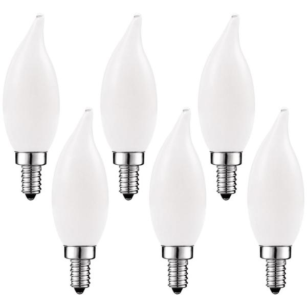 40-Watt Equivalent, CA11 Frosted Candle LED Bulbs, Dimmable, LED Light Bulbs, 2700K Warm White, (6-Pack)