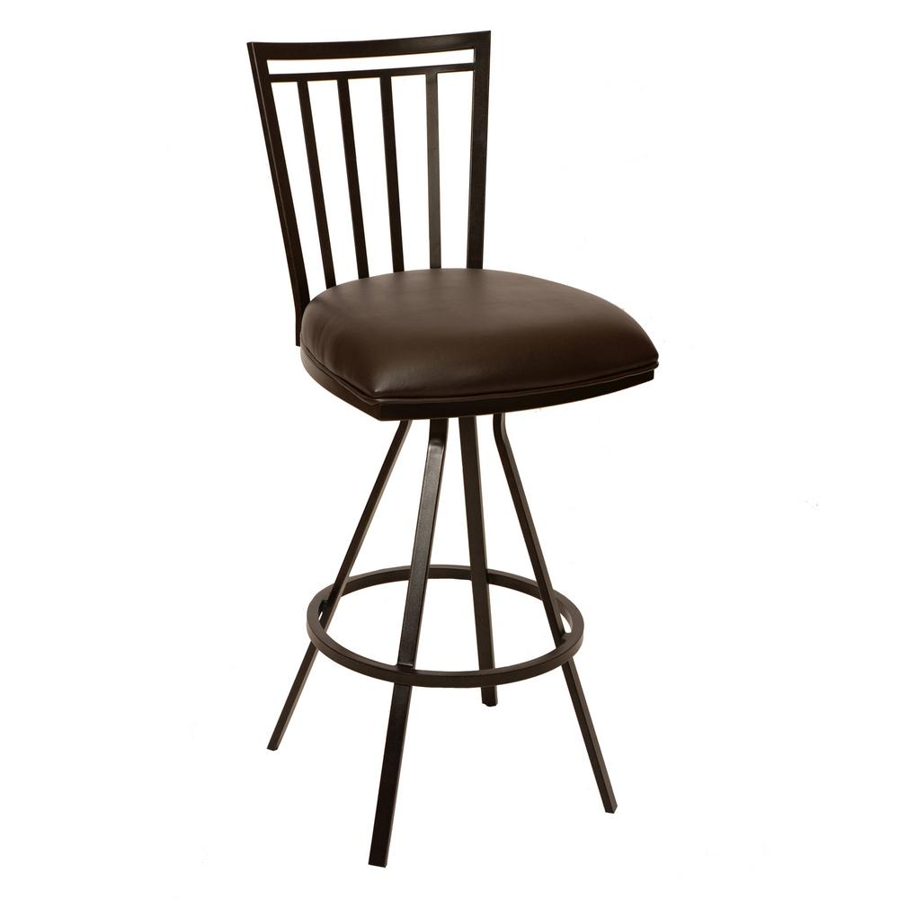 Armen Living Aidan 30 In. Coffee Faux Leather And Auburn Bay Finish  Transitional Barstool