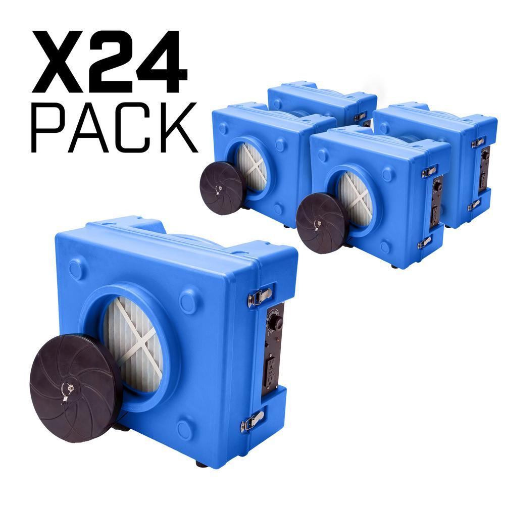 B-Air 1/3 HP 2.5 Amp HEPA Air Scrubber Purifier for Water Damage Restoration Negative Air Machine in Blue (24-Pack)