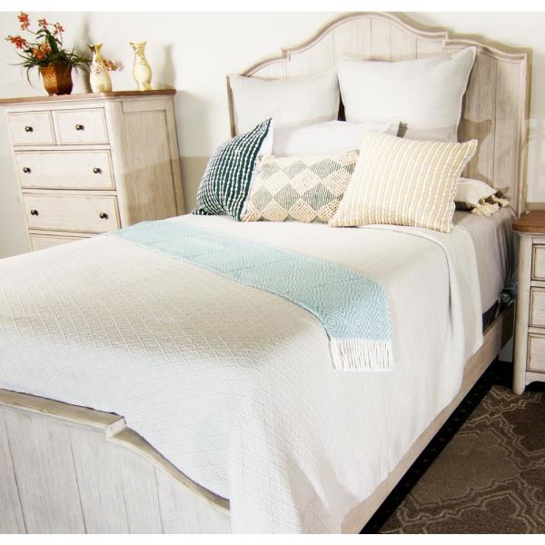 American Colors Diamond Textured Matelasse Coverlet Twin White Diamcovwhttw