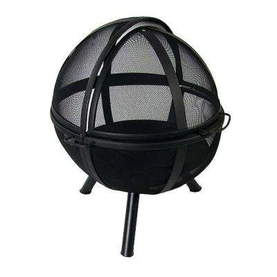 Flaming Ball 30 in. x 36 in. Round Steel Wood Burning Fire Pit in Black with Cover
