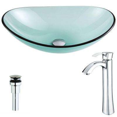 Major Series Deco-Glass Vessel Sink in Lustrous Green with Harmony Faucet in Chrome