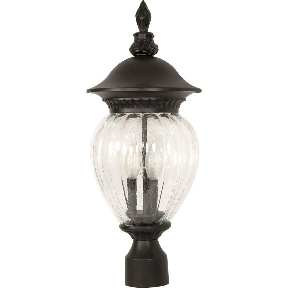 Glomar Balun 3-Light 22 in. Post Lantern withClear Melon Seed Glass Finished in Chestnut Bronze-DISCONTINUED