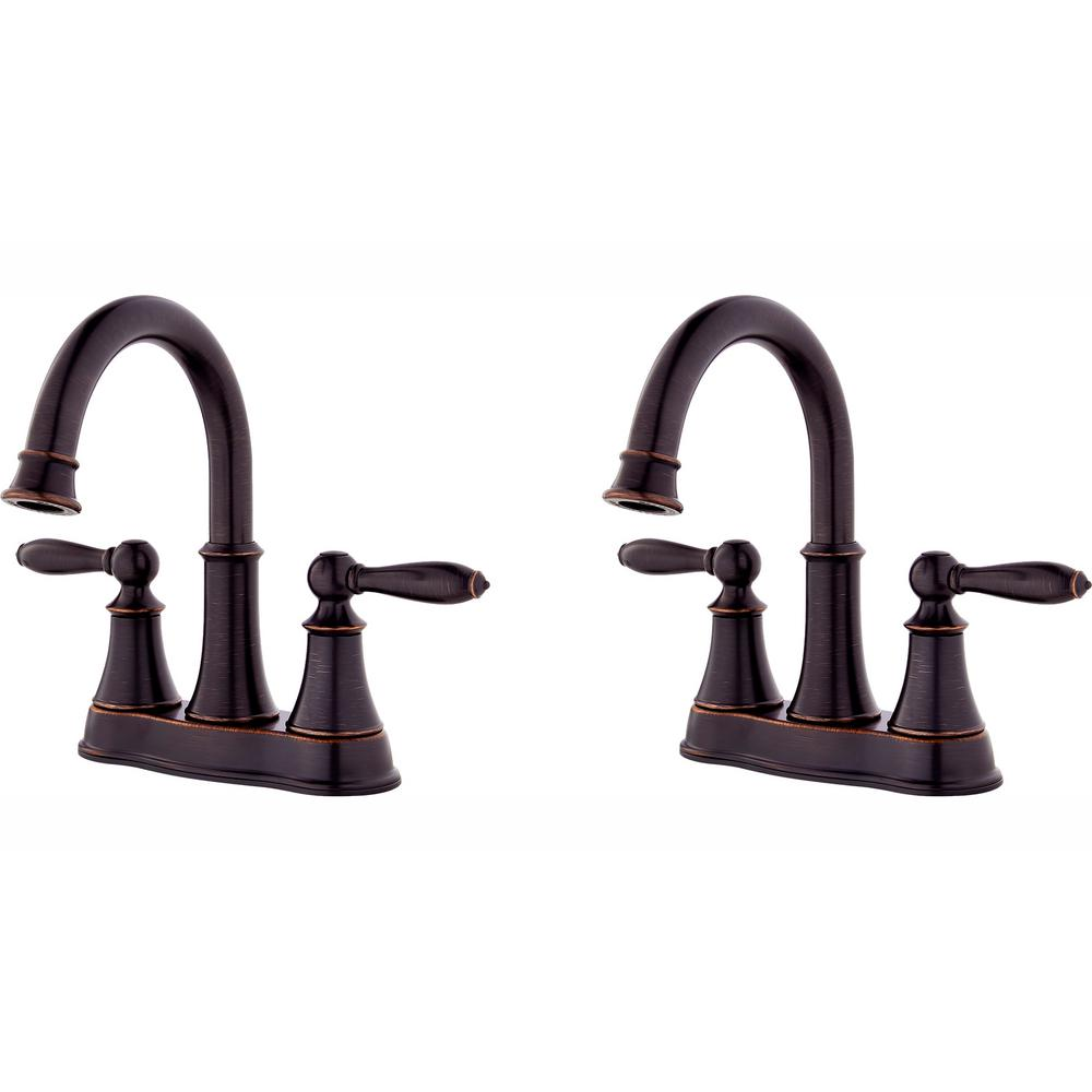 Pfister Courant 4 in. Centerset 2-Handle Bathroom Faucet in Tuscan Bronze (2-Pack Combo)