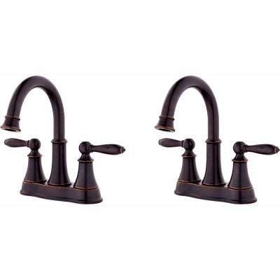 Courant 4 in. Centerset 2-Handle Bathroom Faucet in Tuscan Bronze (2-Pack Combo)