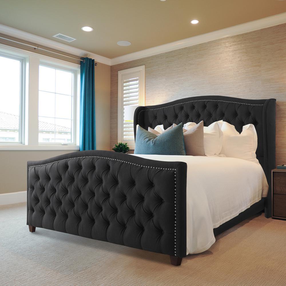 Marcella Jet Black King Upholstered Bed