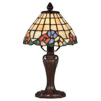 Basking Floral 13 in. Antique Bronze Accent Lamp with Hand Blown Art Glass Shade