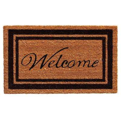 Black Border Welcome 24 in. x 36 in. Door Mat