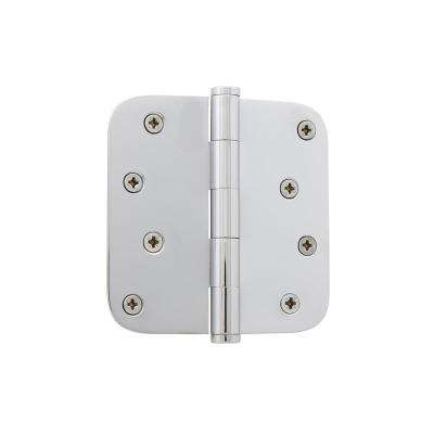 4 in. Button Tip Residential Hinge with 5/8 in. Radius Corners in Bright Chrome