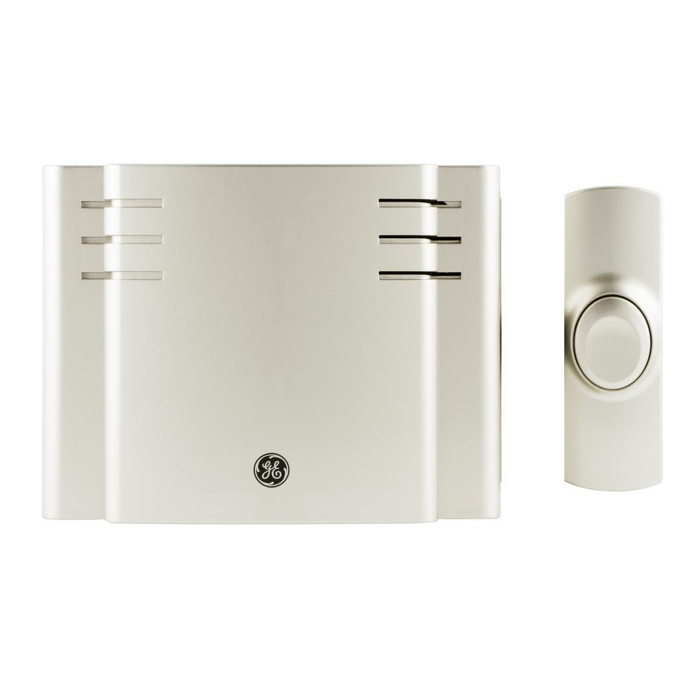 GE Wireless Door Chime with 8 Sounds, Nickel-19303 - The Home Depot