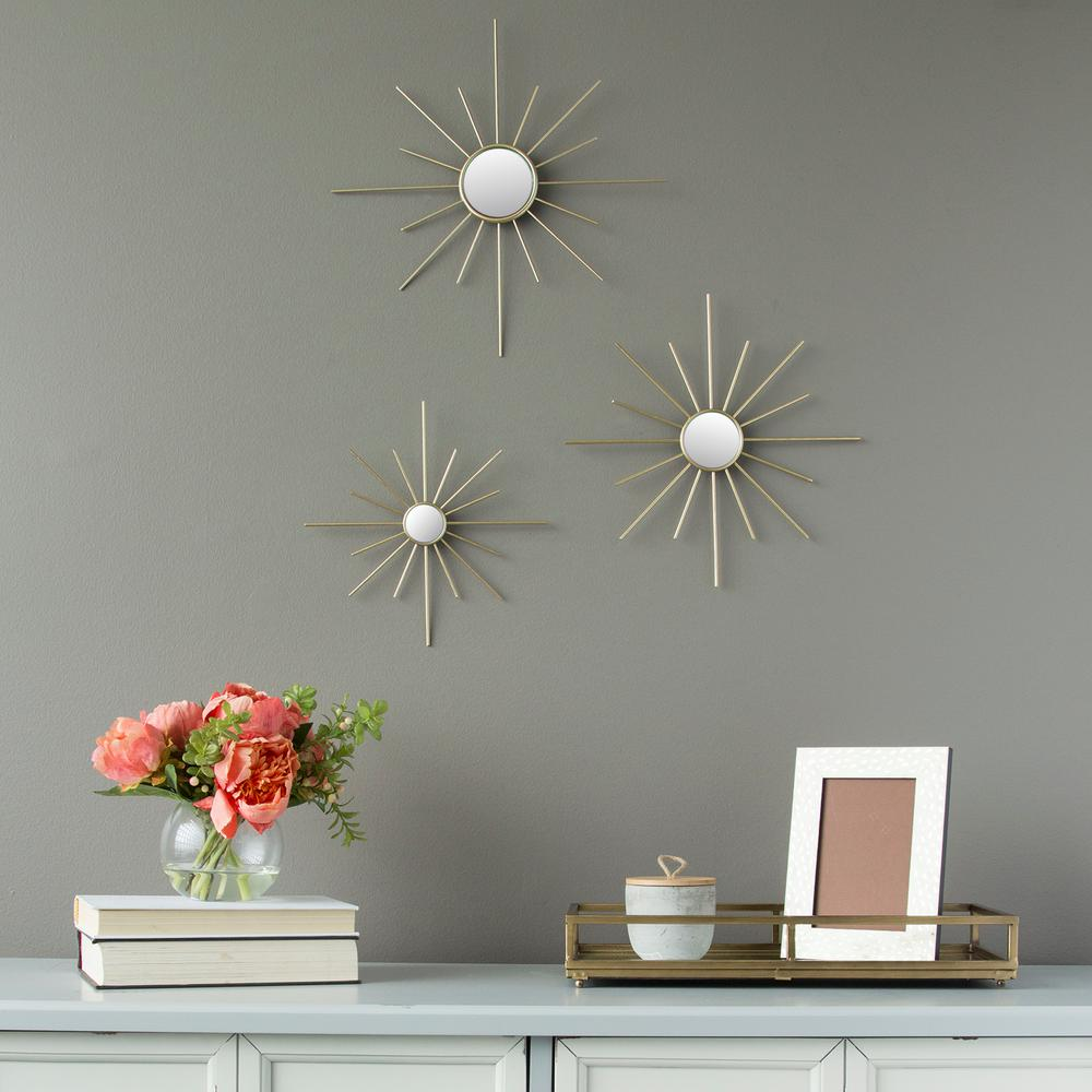 Stratton Home Decor Gold Metal Burst Mirrored Wall Decor