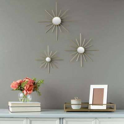 Gold Metal Burst Mirrored Wall Decor (Set of 3)