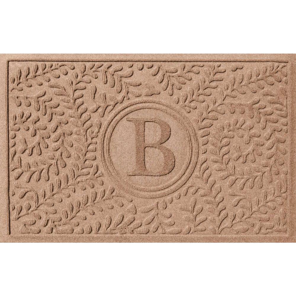 Bungalow Flooring Boxwood Medium Brown 24 in. x 36 in. Monogram B Door Mat