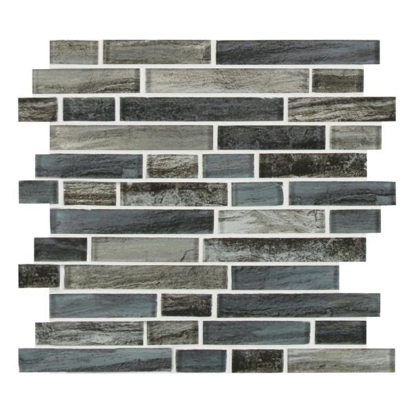 Grigio Lagoon Interlocking 11.81 in. x 11.81 in. x 8 mm Glossy Glass Mesh-Mounted Mosaic Tile (9.7 sq. ft./Case)