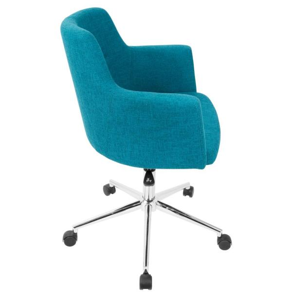 the latest 53e7b 8e582 Lumisource Andrew Contemporary Adjustable Teal Fabric Office ...
