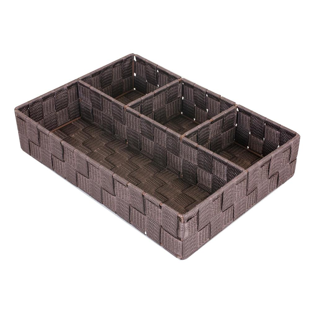 9.5 in. x 13 in. Brown 4-Cube Organizer