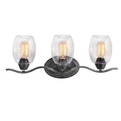 3-Light Aged Black Vanity Light with Seeded Glass Shade
