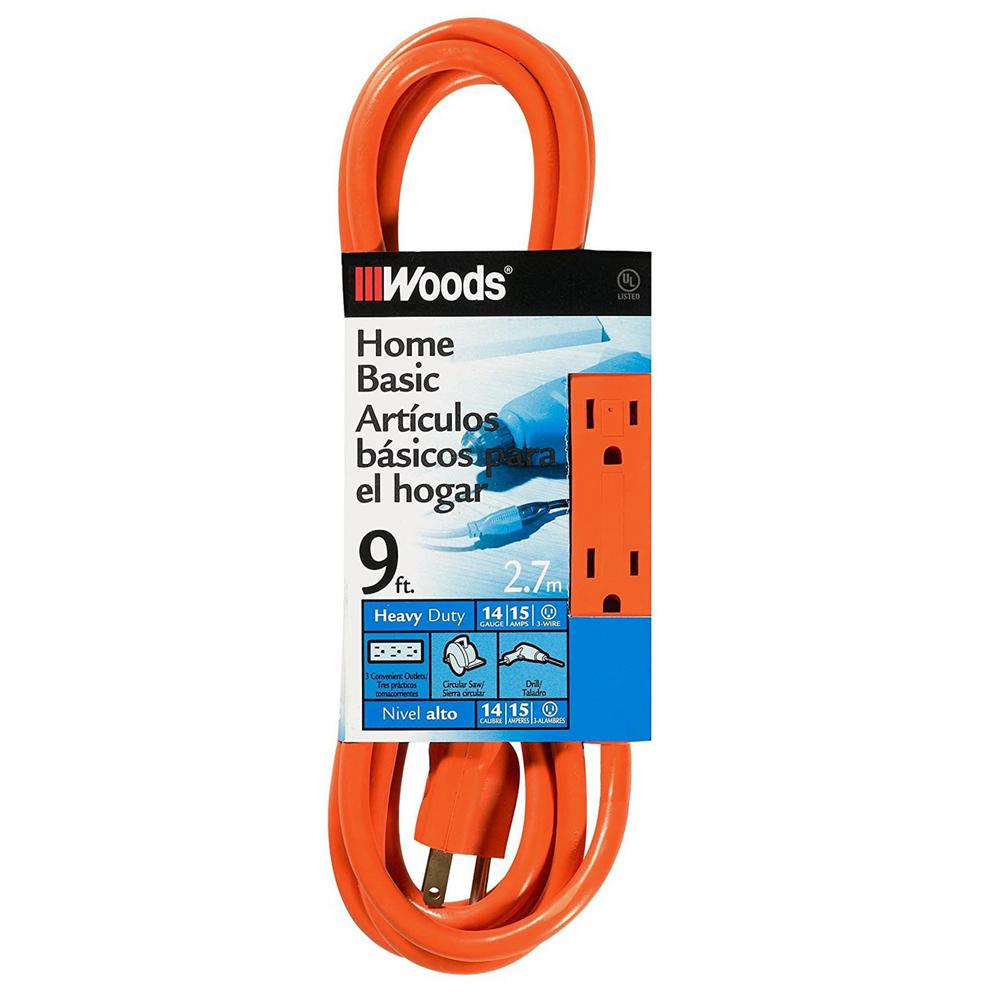 9 ft. 14/3 SJTW Multi-Outlet (3) Indoor Medium-Duty Extension Cord with