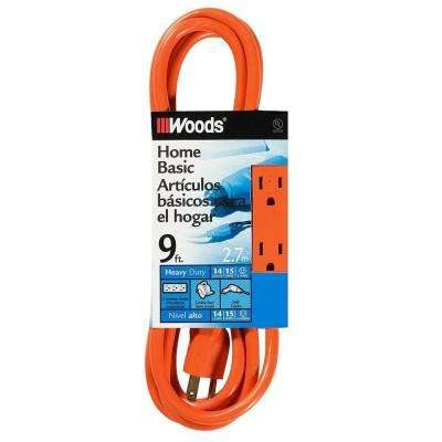 9 ft. 14/3 Multi-Outlet (3) Extension Cord with Power Tap, Orange