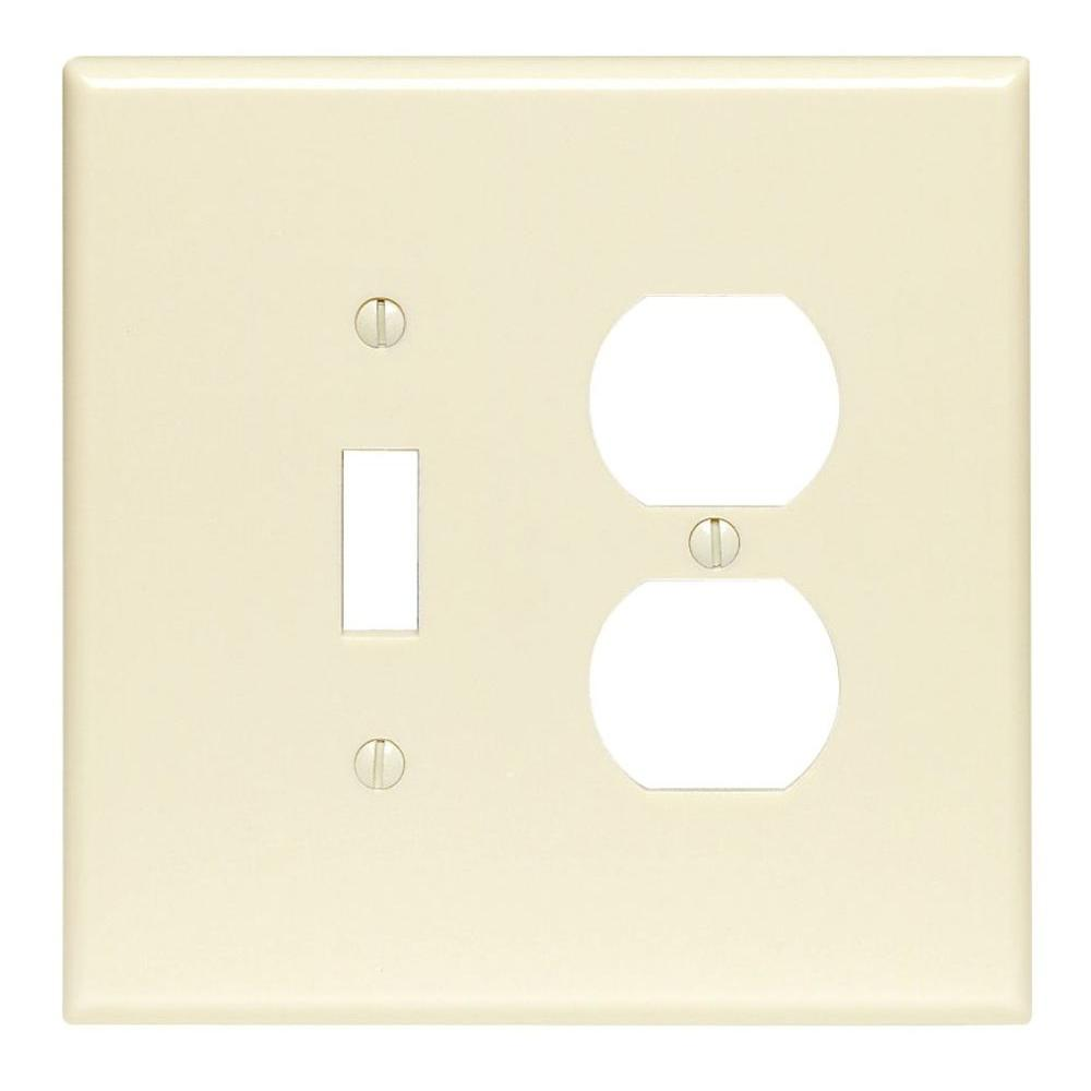 2-Gang 1-Toggle 1-Duplex Combination Wall Plate, Ivory