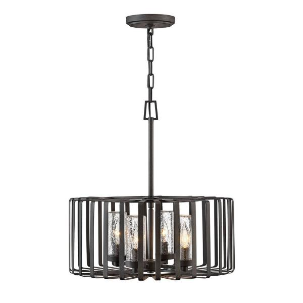 Reid 4-Light Brushed Graphite Low Voltage Outdoor Single Tier Chandelier