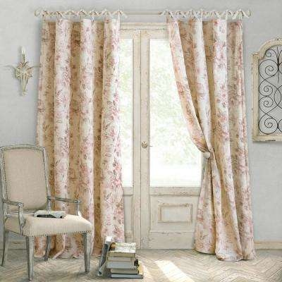 Annalise 52 in. W x 95 in. L Polyester Single Window Curtain Panel in Dusty Rose