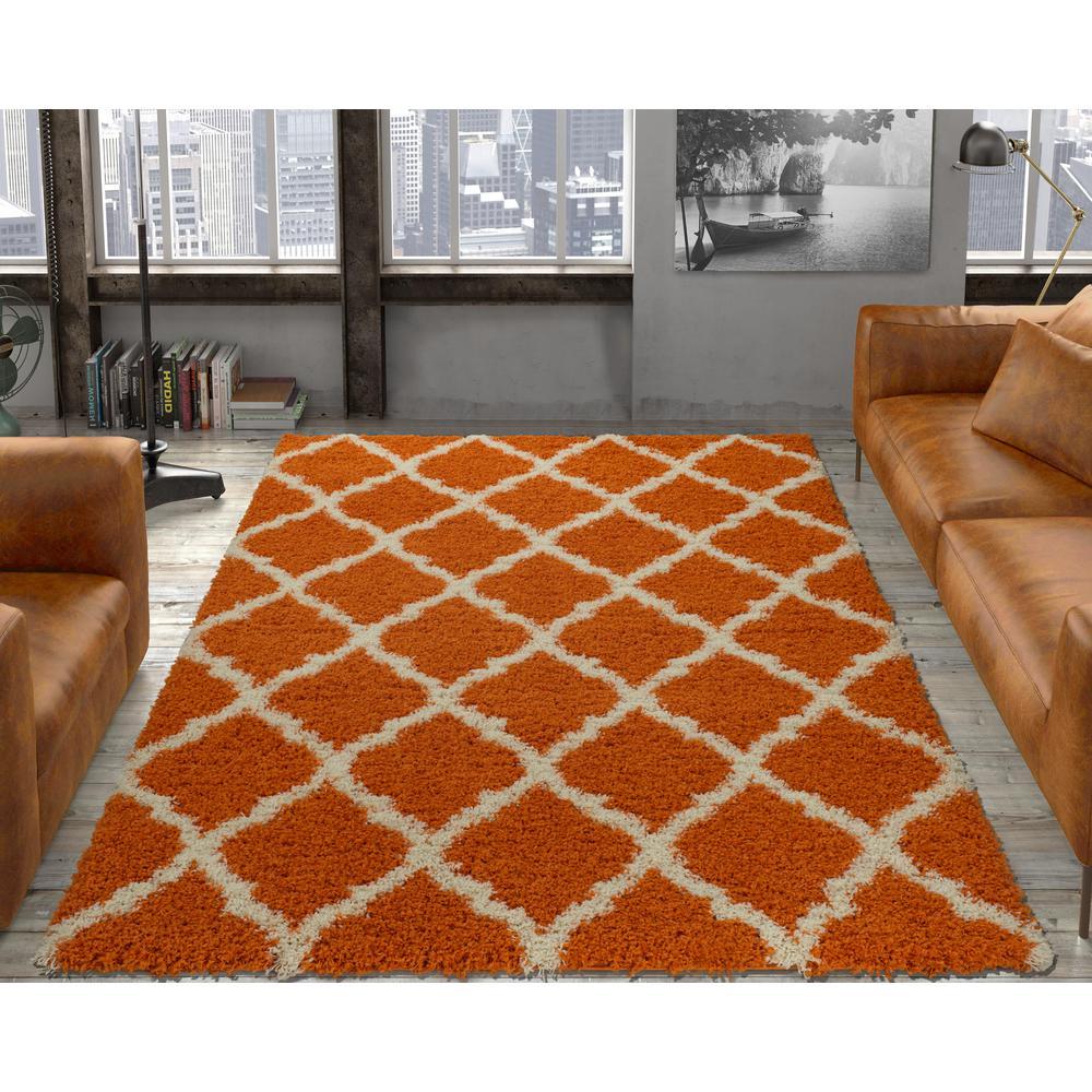 Ultimate Shaggy Contemporary Moroccan Trellis Design Orange 5 ft. x 7 ft. Area Rug