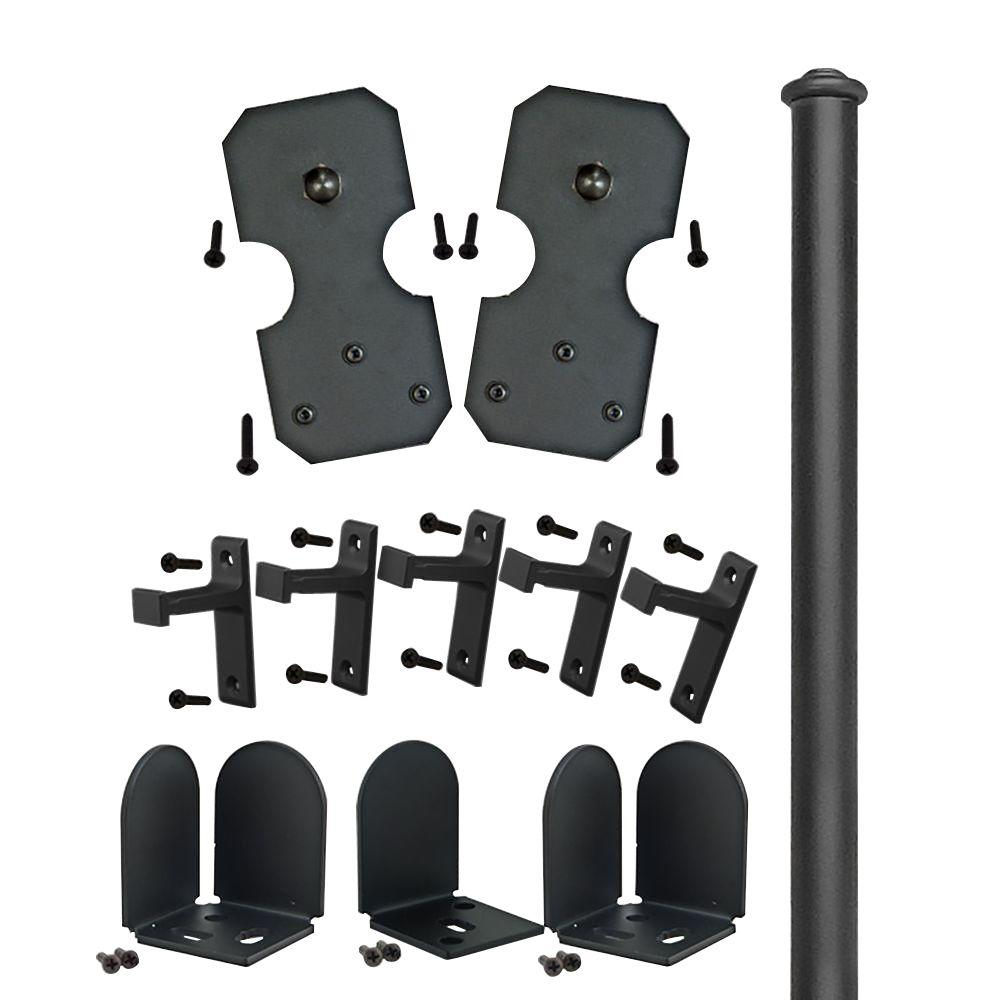 Quiet Glide 72 in. Notched Rectangle Black Sliding Barn Door Round Track and Hardware Kit