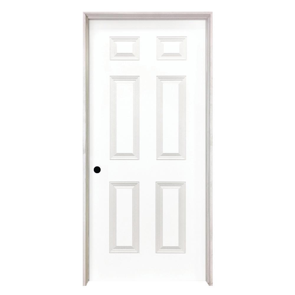 6 Panel Smooth Hollow Core Primed White Clic Composite Single Prehung Interior Door