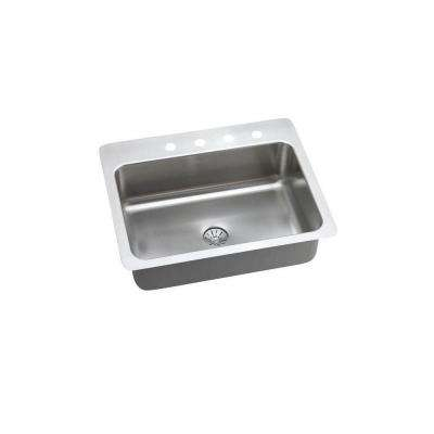 Perfect Drain Drop-In/Undermount Stainless Steel 27 in. 4-Hole Single Bowl Kitchen Sink