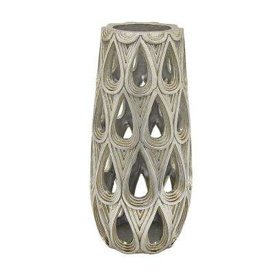 Silver Resin Pierced Decorative Vase
