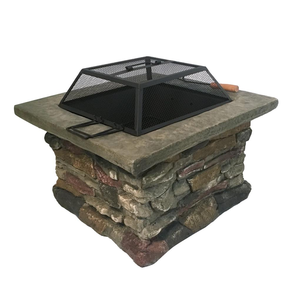 28 in. W x 23 in. H Square MGO Wood Burning Firepit in Stone Finish with Cover and Fire Poker