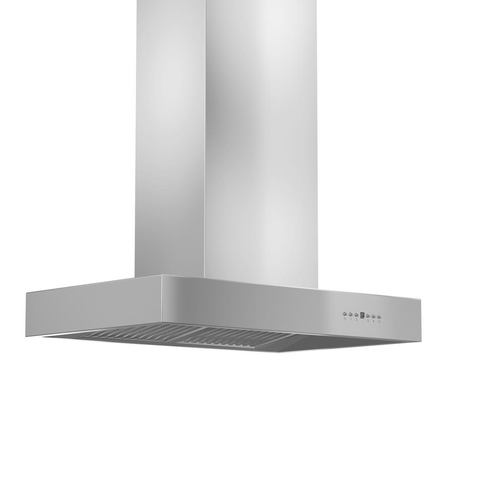 ZLINE Kitchen and Bath Zline 36 in. 1200 CFM Island Mount Range Hood in Stainless Steel, Brushed 430 Stainless Steel ZLINE 36 in. Popular Modern High Performance stainless steel Island Range Hood. Built for years of trouble free use - Easily Convertible to recirculating operation with purchase of carbon filters or standard configuration vents outside. Efficiently and quietly moves large volumes of air and fits ceilings up to 12 ft. with the purchase of the proper ZLINE extensions. Color: Brushed 430 Stainless Steel.