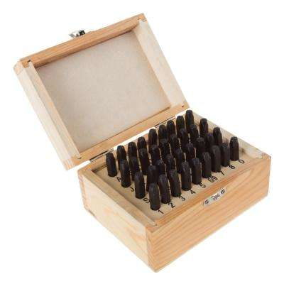 1/4 in. Letter and Number Steel Punch Set in Wooden Case (36-Piece)