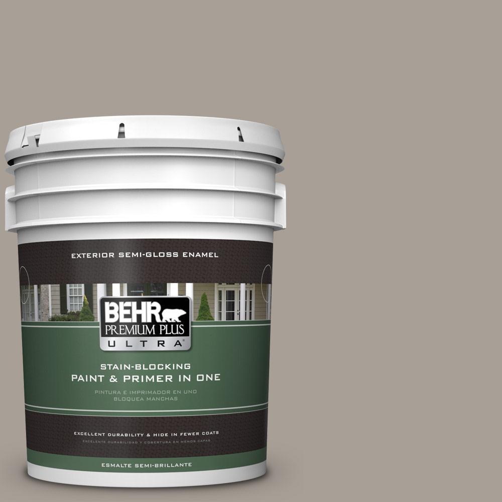 5 gal. #PPU24-09 True Taupewood Semi-Gloss Enamel Exterior Paint