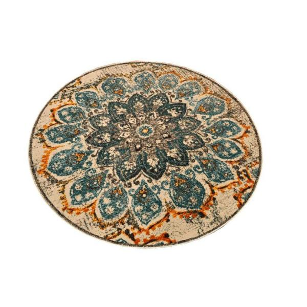 Vintage Collection Aqua Yellow Droplet 5 ft. x 5 ft. Round Polypropylene Area Rug