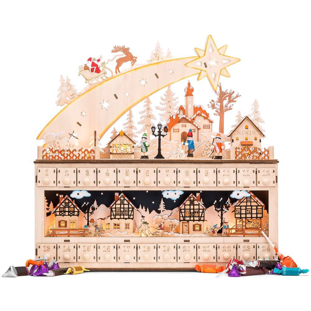 17 in. Wood LED Christmas Shooting Star Advent Calendar