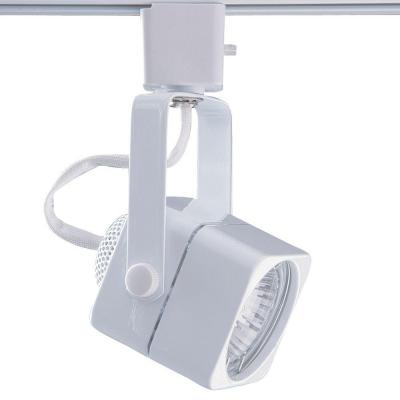 Series 15 Line-Voltage GU-10 White Soft Square Track Lighting Fixture