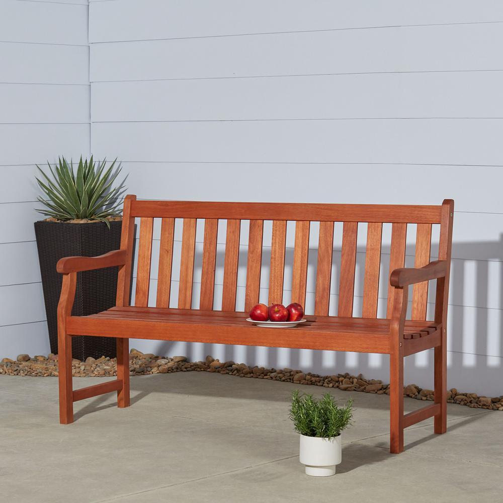 Vifah Baltic 5 Ft Eucalyptus Wood Garden Bench