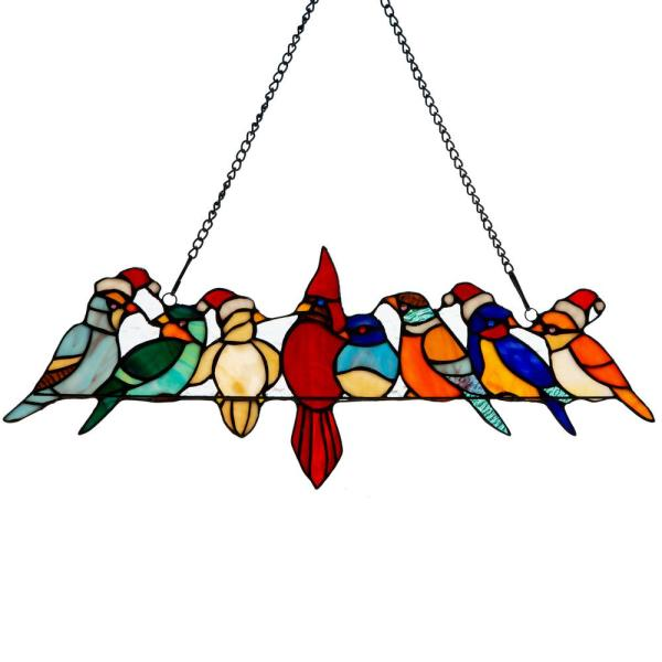 Multi-Colored Santa Birds on a Wire Stained Glass Window Panel