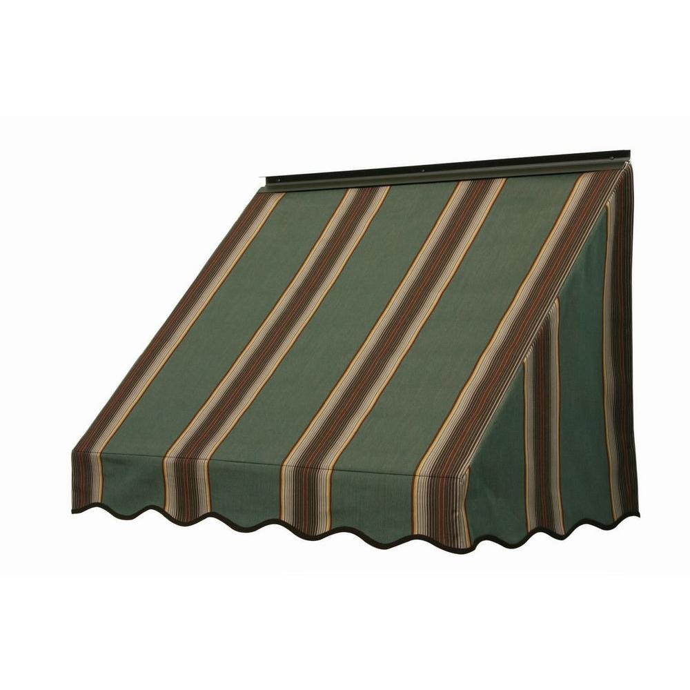 NuImage Awnings 3700 Series Fabric Window Awning (28 in. H x 24 in. D) in Forest Vintage Bar Stripe