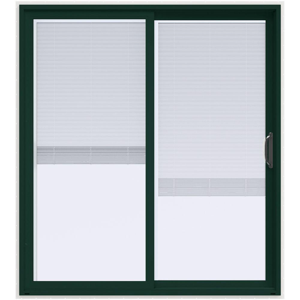 72 in. x 80 in. V-4500 Contemporary Green Paint Vinyl Right-Hand Full Lite Sliding Patio Door w/White Interior & Blinds