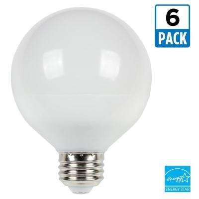 75W Equivalent Cool Bright G25 Dimmable LED Light Bulb (6 Pack)