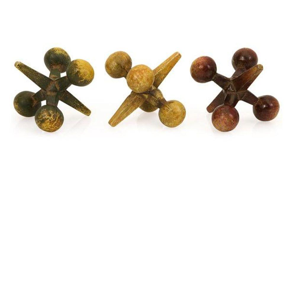 Home Decorators Collection 3.5 in. H Cast Iron Jacks Decorative Sculpture in Multicolor (Set of 3)
