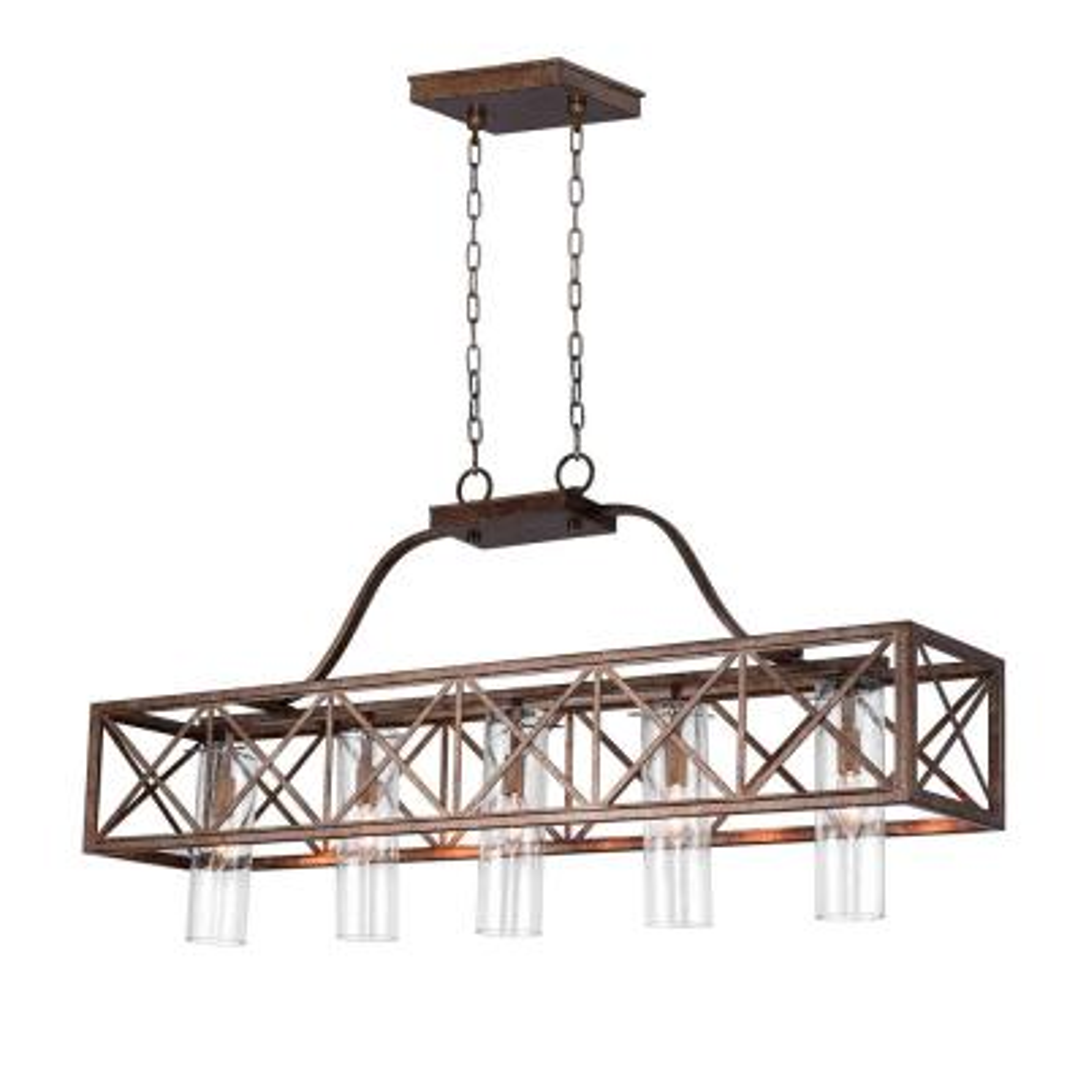 Keeva 5-Light Wood Grain Bronze Chandelier