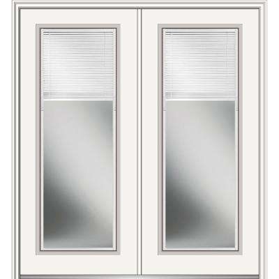 72 in. x 80 in. Internal Blinds Left-Hand Inswing Full Lite Clear Low-E Primed Fiberglass Smooth Prehung Front Door