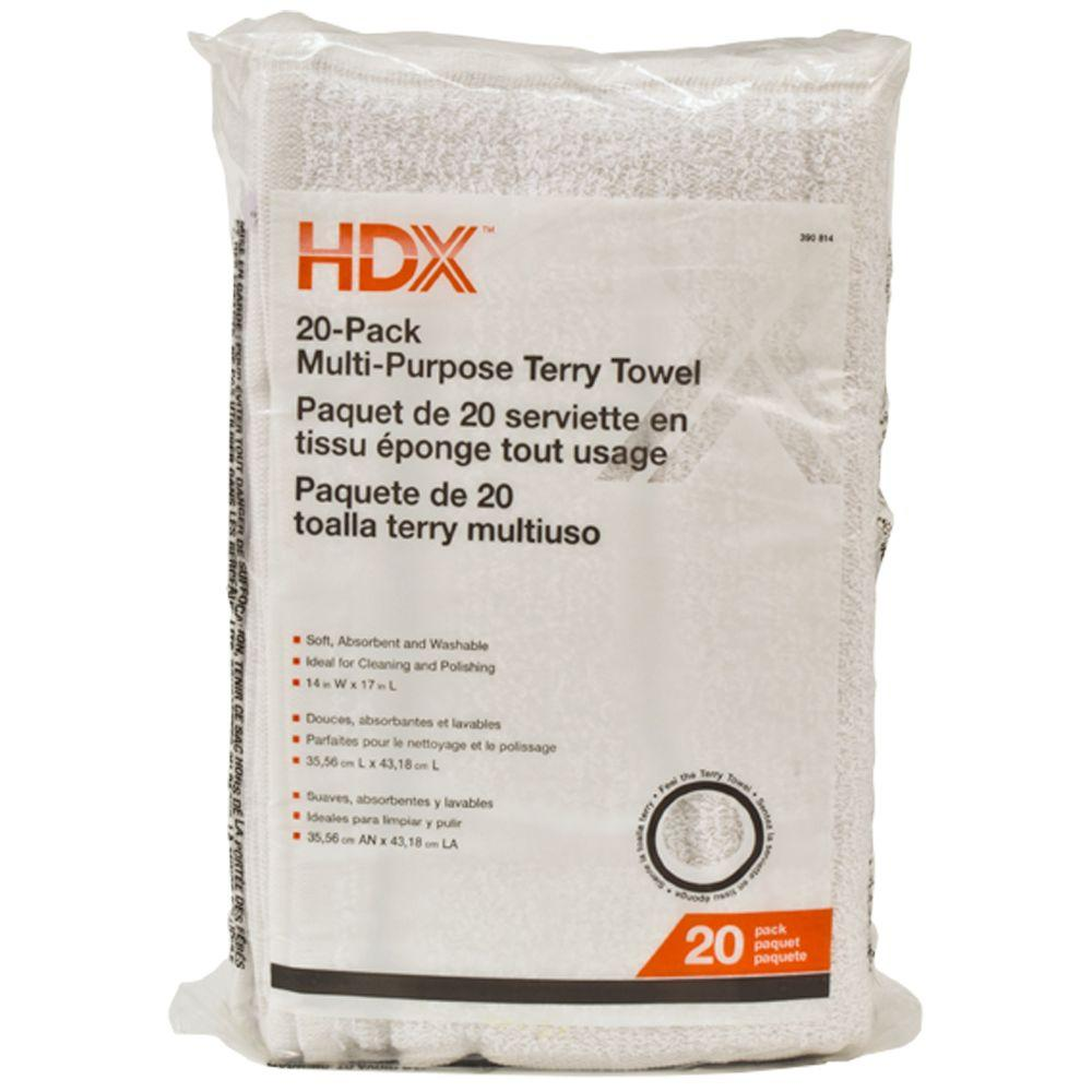 HDX 14 in. x 17 in. Multi-Purpose Terry Cloth (20-Pack)