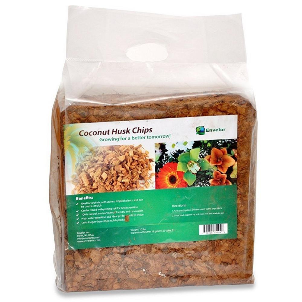 10 lbs. Natural Coco Coir Husk Chips Coconut Coir Fiber Mulch (4-Pack)
